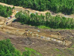 Aerial view of excavation project